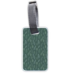 Whimsical Feather Pattern, Forest Green Luggage Tag (two sides)