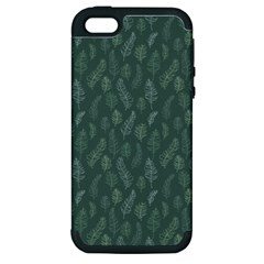 Whimsical Feather Pattern, Forest Green Apple iPhone 5 Hardshell Case (PC+Silicone)