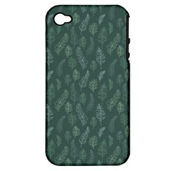 Whimsical Feather Pattern, Forest Green Apple iPhone 4/4S Hardshell Case (PC+Silicone)