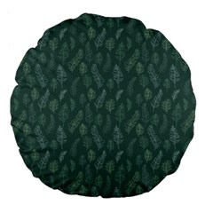 Whimsical Feather Pattern, Forest Green Large 18  Premium Flano Round Cushion