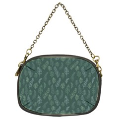 Whimsical Feather Pattern, Forest Green Chain Purse (Two Sides)