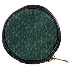 Whimsical Feather Pattern, Forest Green Mini Makeup Bag