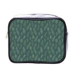 Whimsical Feather Pattern, Forest Green Mini Toiletries Bag (One Side)
