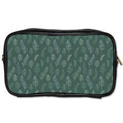 Whimsical Feather Pattern, Forest Green Toiletries Bag (Two Sides)