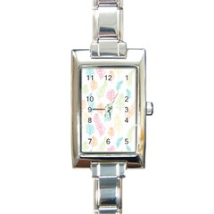 Whimsical Feather Pattern,Fresh Colors, Rectangle Italian Charm Watch