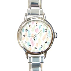 Whimsical Feather Pattern,Fresh Colors, Round Italian Charm Watch