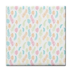 Whimsical Feather Pattern,Fresh Colors, Tile Coaster