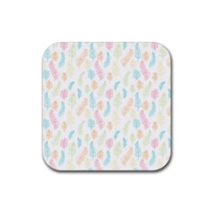 Whimsical Feather Pattern,fresh Colors, Rubber Coaster (square)