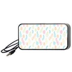 Whimsical Feather Pattern,Fresh Colors, Portable Speaker (Black)