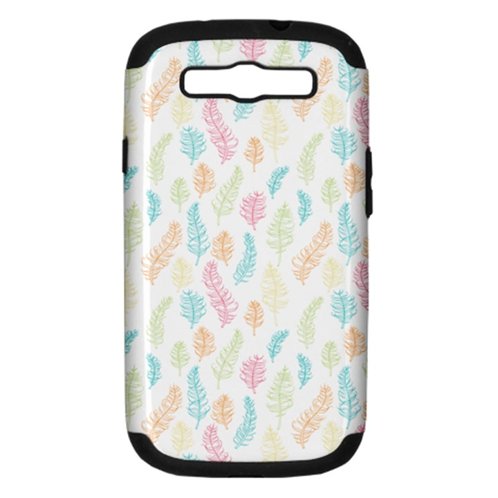 Whimsical Feather Pattern,Fresh Colors, Samsung Galaxy S III Hardshell Case (PC+Silicone)