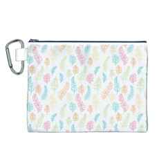 Whimsical Feather Pattern,Fresh Colors, Canvas Cosmetic Bag (Large)