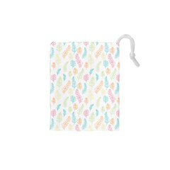 Whimsical Feather Pattern,Fresh Colors, Drawstring Pouch (XS)