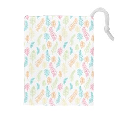 Whimsical Feather Pattern,Fresh Colors, Drawstring Pouch (XL)
