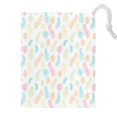 Whimsical Feather Pattern,Fresh Colors, Drawstring Pouch (XXL)