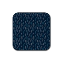 Whimsical Feather Pattern, Midnight Blue, Rubber Coaster (square)