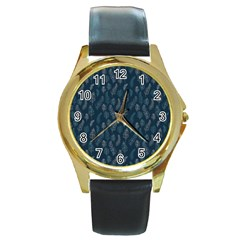 Whimsical Feather Pattern, Midnight Blue, Round Gold Metal Watch