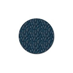 Whimsical Feather Pattern, Midnight Blue, Golf Ball Marker