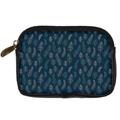 Whimsical Feather Pattern, Midnight Blue, Digital Camera Leather Case
