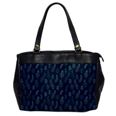 Whimsical Feather Pattern, Midnight Blue, Oversize Office Handbag