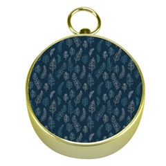 Whimsical Feather Pattern, Midnight Blue, Gold Compass