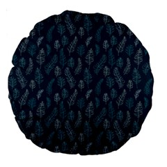 Whimsical Feather Pattern, Midnight Blue, Large 18  Premium Round Cushion