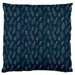 Whimsical Feather Pattern, Midnight Blue, Standard Flano Cushion Case (Two Sides)