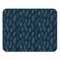 Whimsical Feather Pattern, Midnight Blue, Double Sided Flano Blanket (Large)