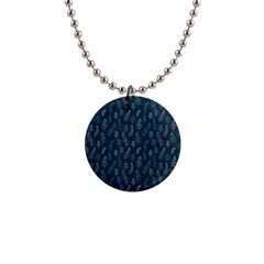 Whimsical Feather Pattern, Midnight Blue, 1  Button Necklace