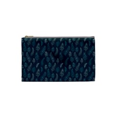 Whimsical Feather Pattern, Midnight Blue, Cosmetic Bag (Small)