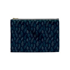 Whimsical Feather Pattern, Midnight Blue, Cosmetic Bag (Medium)