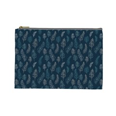 Whimsical Feather Pattern, Midnight Blue, Cosmetic Bag (Large)