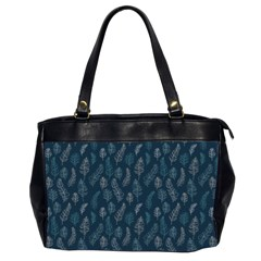 Whimsical Feather Pattern, Midnight Blue, Oversize Office Handbag (2 Sides)
