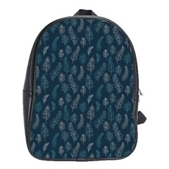 Whimsical Feather Pattern, Midnight Blue, School Bag (XL)