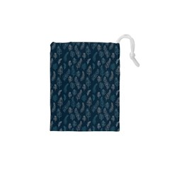 Whimsical Feather Pattern, Midnight Blue, Drawstring Pouch (xs)