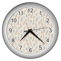 Whimsical Feather Pattern, Nature brown, Wall Clock (Silver)