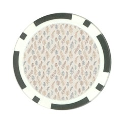 Whimsical Feather Pattern, Nature brown, Poker Chip Card Guard
