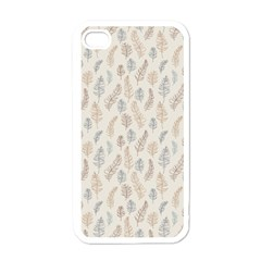 Whimsical Feather Pattern, Nature brown, Apple iPhone 4 Case (White)
