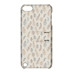 Whimsical Feather Pattern, Nature brown, Apple iPod Touch 5 Hardshell Case with Stand