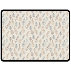 Whimsical Feather Pattern, Nature brown, Fleece Blanket (Large)