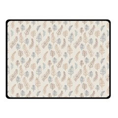 Whimsical Feather Pattern, Nature brown, Double Sided Fleece Blanket (Small)