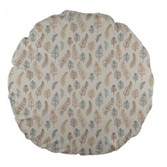 Whimsical Feather Pattern, Nature brown, Large 18  Premium Flano Round Cushion