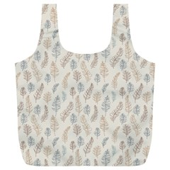 Whimsical Feather Pattern, Nature brown, Full Print Recycle Bag (XL)