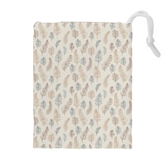 Whimsical Feather Pattern, Nature brown, Drawstring Pouch (XL)