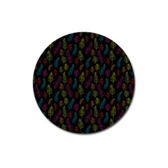 Whimsical Feather Pattern, bright pink red blue green yellow, Magnet 3  (Round)