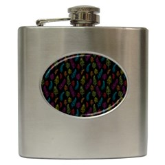 Whimsical Feather Pattern, bright pink red blue green yellow, Hip Flask (6 oz)
