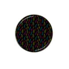 Whimsical Feather Pattern, bright pink red blue green yellow, Hat Clip Ball Marker (10 pack)