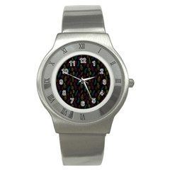 Whimsical Feather Pattern, bright pink red blue green yellow, Stainless Steel Watch