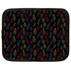 Whimsical Feather Pattern, bright pink red blue green yellow, Netbook Case (XXL)
