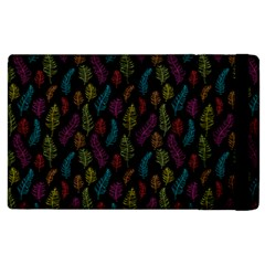 Whimsical Feather Pattern, bright pink red blue green yellow, Apple iPad 3/4 Flip Case