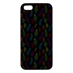 Whimsical Feather Pattern, bright pink red blue green yellow, iPhone 5S/ SE Premium Hardshell Case